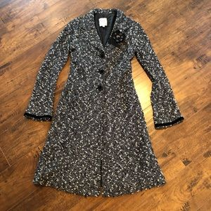 Nanette Lapore Wool Blend Tweed Trench W/Flower